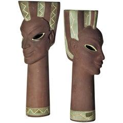 Exotic Ceramic Head Vase Sculptures