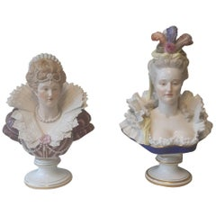 Pair of 19th Century Meissen Busts