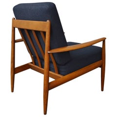 1950s Grete Jalk Danish Lounge Chair for France & Daverkosen in Charcoal Wool