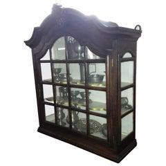 19th Century Barock Revival Blackened Oak Three-Side Glassed Hanging Showcase