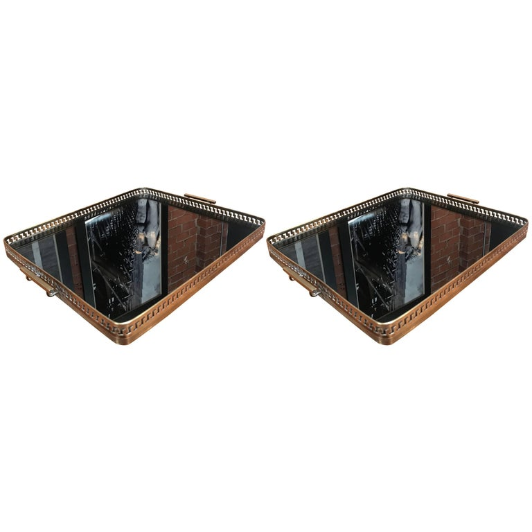 Pair of Brass Italian Tray with Smoke Glass Top, 1960s For Sale