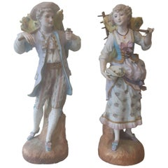 Large Pair of 19th Century French Bisque Figures