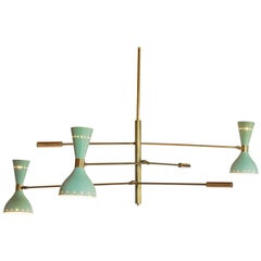 Adjustable Three-Arm Chandelier Brass Patinated Sage Green New Staggered Design