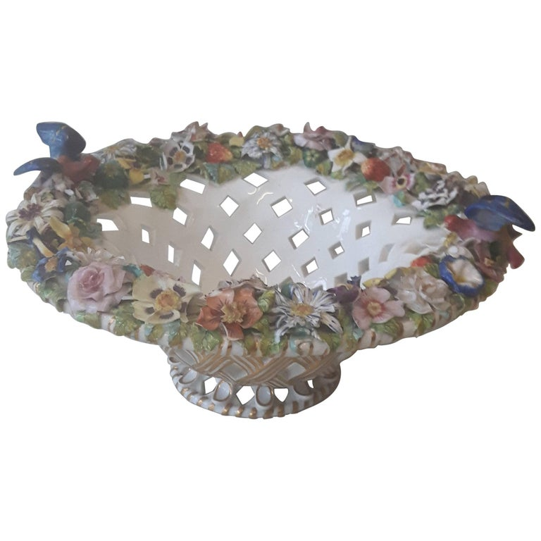 Fine Derby Flower Encrusted Basket