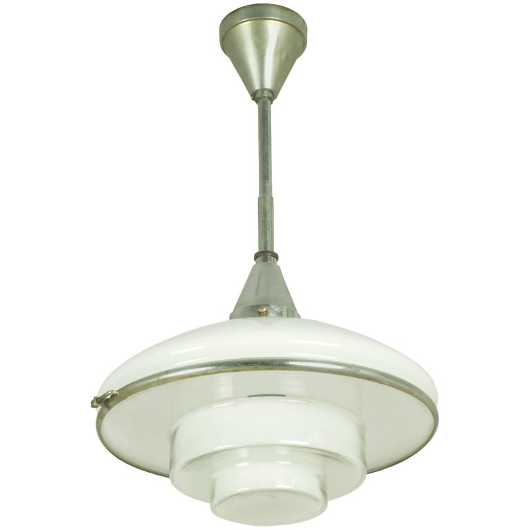 Chrome-Plated and Opaline Glass Pendant Lamp by Otto Müller for Sistrah, 1931
