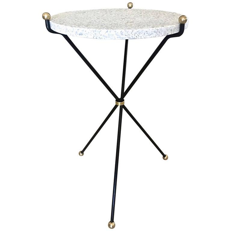 Italian Brass and Steel Terrazzo Tripod Side Table