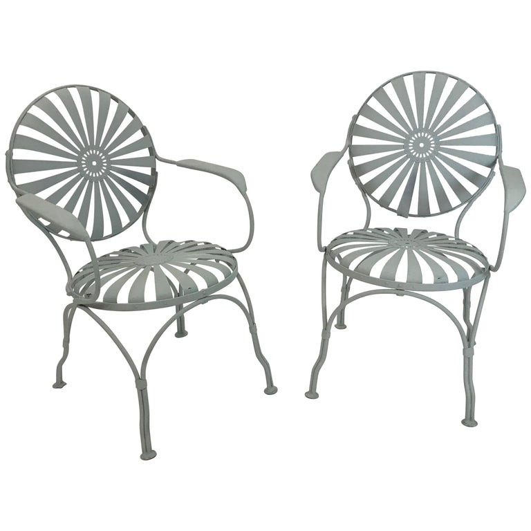 French Art Deco Sunburst Garden Patio Armchairs by Francois Carré