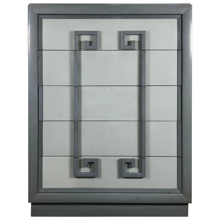 1940s Greek Key Five-Drawer Lacquered Chest by Kittinger
