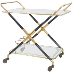 Italian Laquered Wood, Brass and Glass 1950s Serving Bar Cart by Cesare Lacca