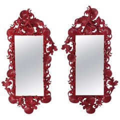 Pair of Red Sea Shell Mirrors