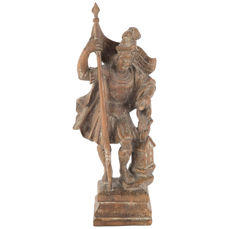 18th Century German Carved Wood Figure of Saint Florian For Sale