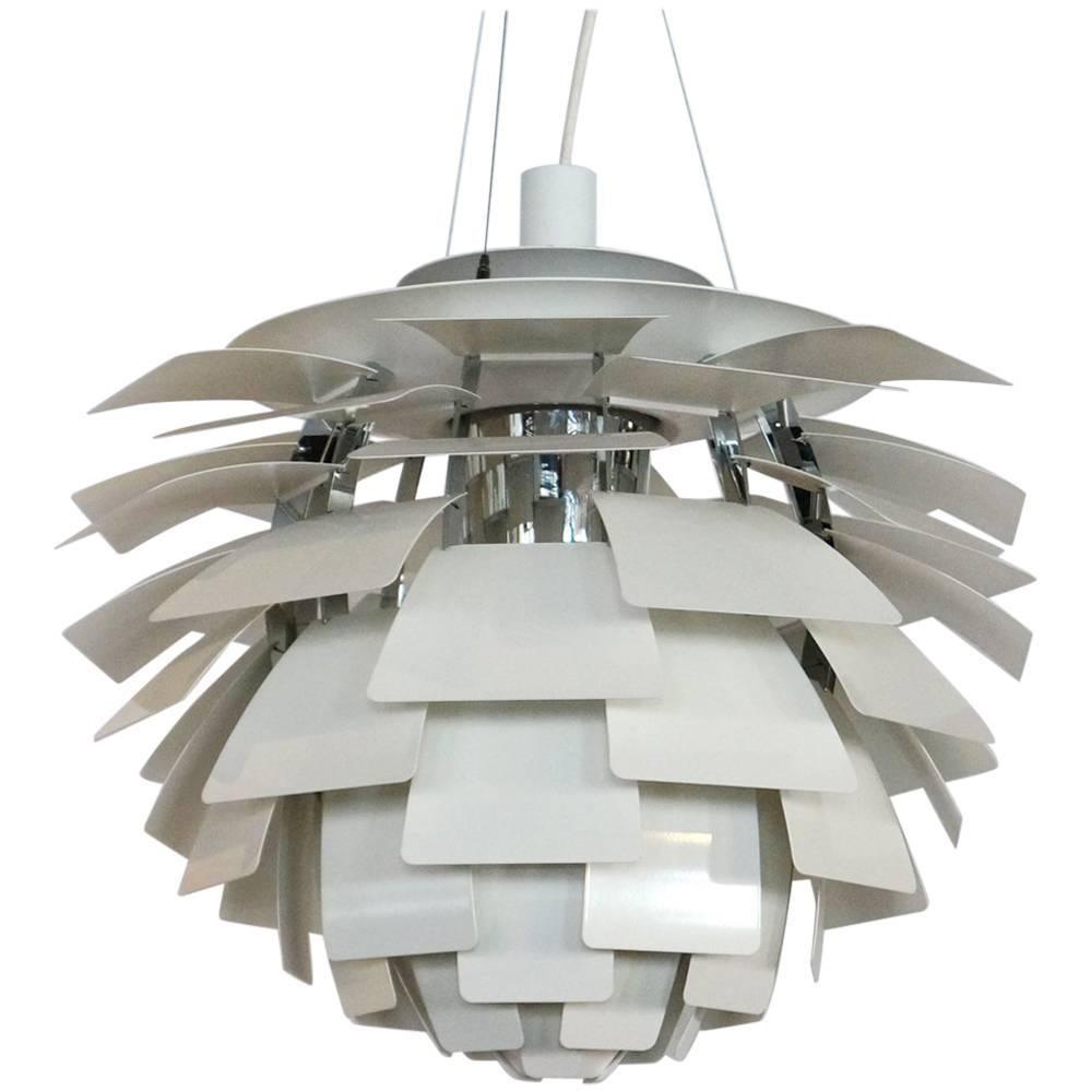 White Artichoke Lamp By Poul Henningsen For Louis Poulsen, Medium Size.  Like New For