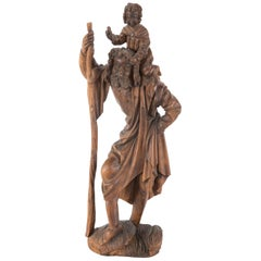 Gothic Style German Black Forest Carving of Saint Christopher