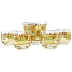 Mid-Century Modern 22-Karat Gold Culver Style Drinks Set of Five Pieces