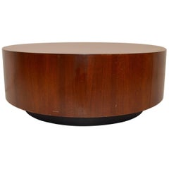 Round Coffee Table with Two Drawers after Baughman