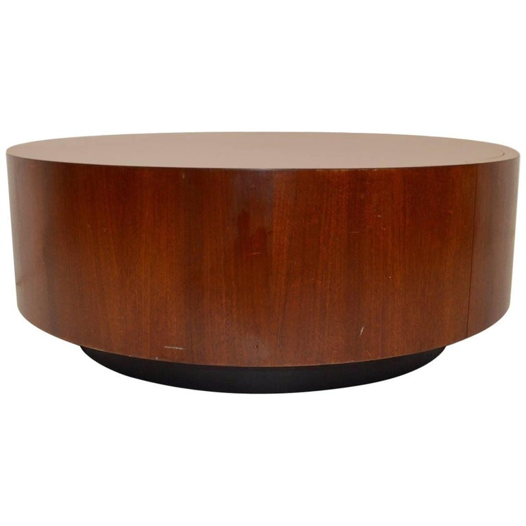 Round Coffee Table with Two Drawers after Baughman For Sale