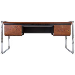 Zebrawood and Chrome Executive Desk by Peter Protzman for Herman Miller