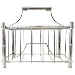 "1970'S Chrome Faux Bamboo ""Pagoda"" Magazine Rack"