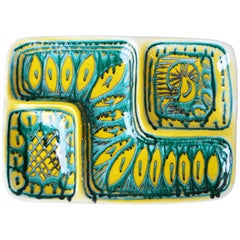Italian Alessio Tasca Hand-Painted Ceramic Dish, Turquoise and Yellow
