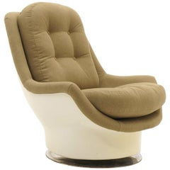 Milo Baughman Swivel Lounge Chair, Fiberglass Shell and New Upholstery