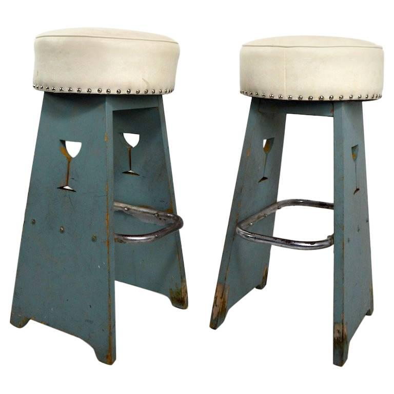 Pair of Folky Art Deco Stools For Sale