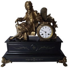 Large Antique Marble and Gilt French Clock Honoring Denis Papin Figural Clock