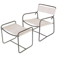 Single Walter Lamb Patio Lounge Chair and Ottoman Set