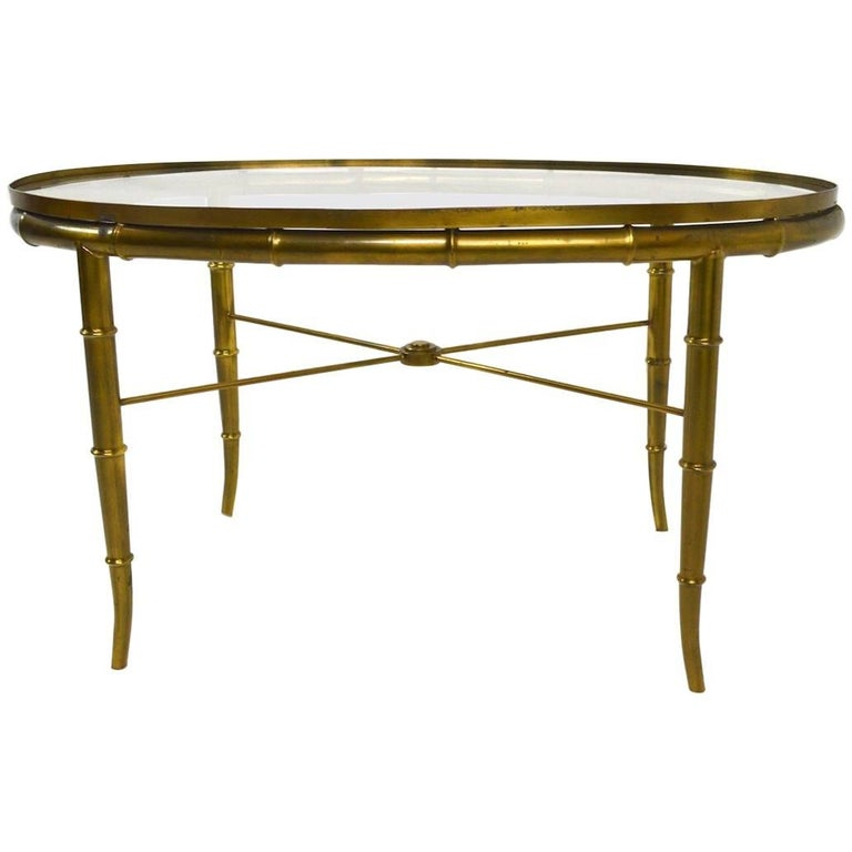 Diminutive Oval Brass and Glass Coffee Table by Mastercraft For Sale