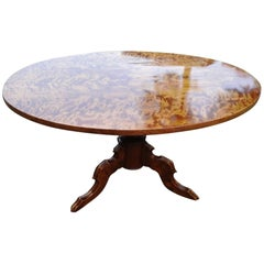 19th Century Louise Phillip Flamed Birch Wood Central Foot Table Restored