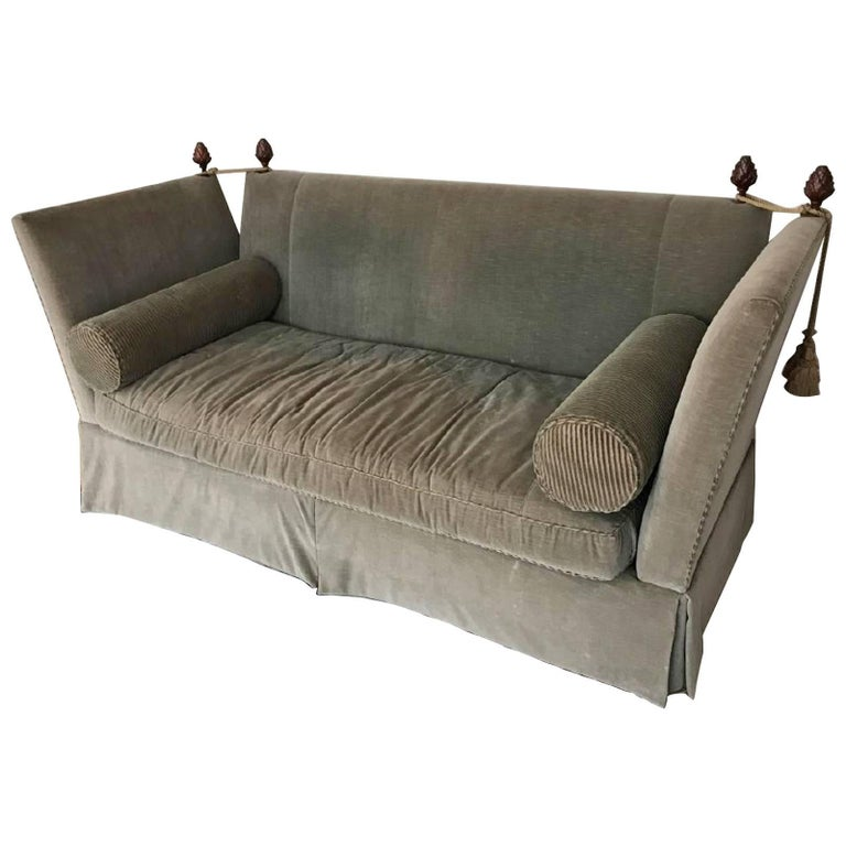 Flared Arm Tuxedo Knole Style Sofa For Sale