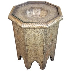 Morrocan Style Brass Repousse Side Table
