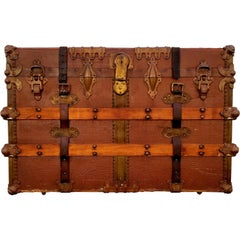 Early 20th Century Steamer Trunk Canvas Clad
