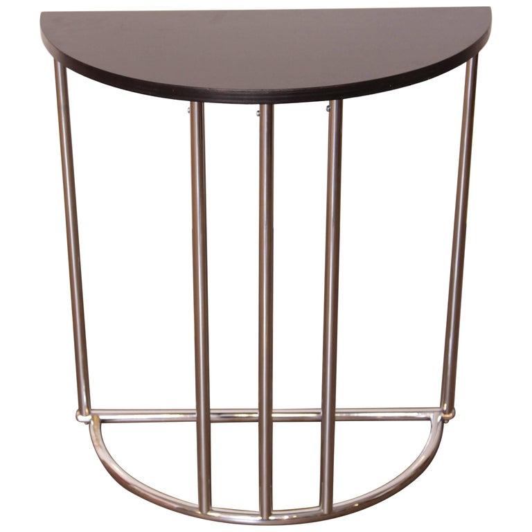 Machine Age Art Deco Demilune Console Table, Royalchrome Royal Metal