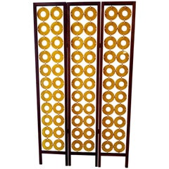 Room Divider or Folding Screen 1970s Mod