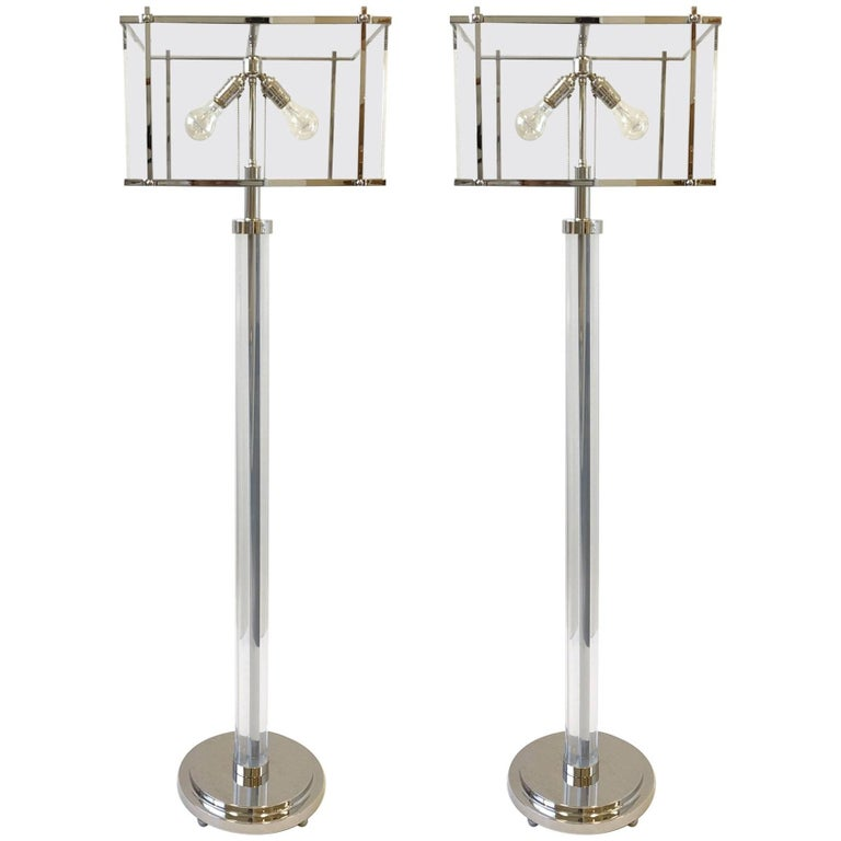 Pair of Polish Nickel and Acrylic Floor Lamps  by Charles Hollis Jones