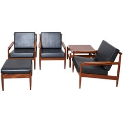 Jos De Mey Livingroom Set, Easy Armchairs, Lounge Chair with Footstool for Luxus