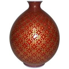 Genki Kunihiko Contemporary Red Japanese Imari Porcelain Vase
