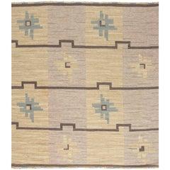 Vintage Swedish Flat-Weave Rug by Sodra Kalmar.