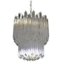 Murano Big Chandelier Venini Style 107 Transparent Prism Quadriedri Elena Mo