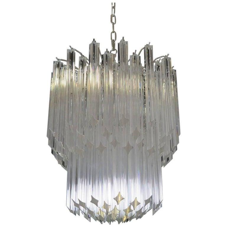 Murano Big Chandelier Venini Style 107 Transparent Prism Quadriedri Elena Mo For Sale