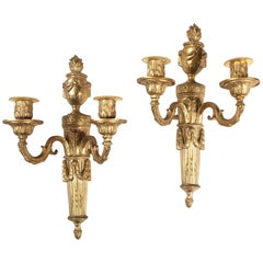 Pair of Two-Light Flaming Urn Wall Appliques