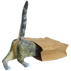 "Sculpture ""Cat in a Poke"" handcarved in germany, solid Wood"