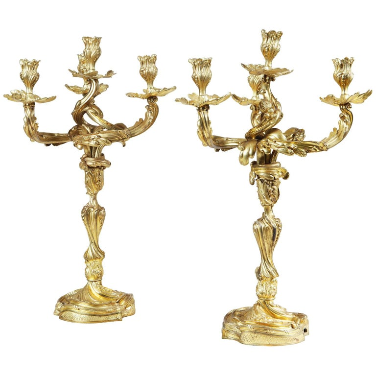 Pair of Louis XV Style Four-Light Ormolu Candelabra 'Electrified'