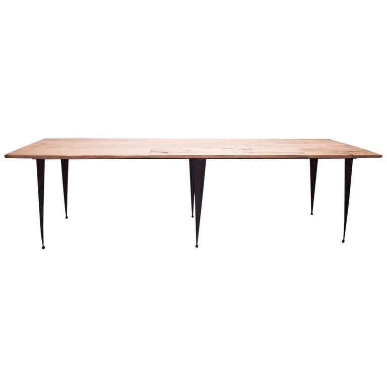 Made to Order Reclaimed Oak Top Table with Tapered Black Iron Legs For Sale
