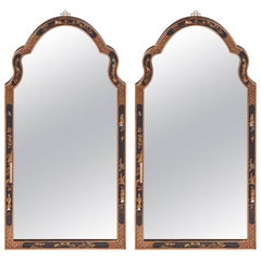 Fine Pair of Large Antique Chinoiserie Lacquered Decorated Wall Mirrors
