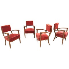 Set of Four Art Deco Armchairs in the Style of Eugène Prinz