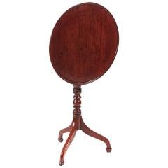 George III Mahogany Circular Dish Top Wine / Lamp Table