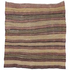 Vintage Turkish Kilim Rug with Bayadere Stripes, Flat-Weave Striped Square Rug