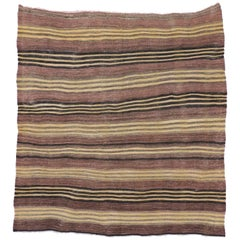 Vintage Turkish Kilim Rug with Stripes, Flat-Weave Rug