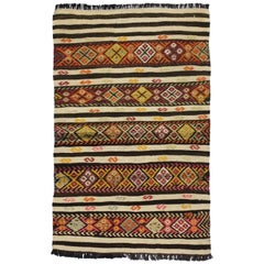 Vintage Turkish Kilim Accent Rug, Flat-Weave Tribal Style Rug